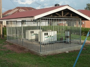 Generators that provide power to the hospital when the electricity fails.