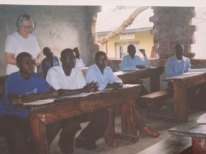 Gillian Jenkinson teaching the 6th form at St John Bosco Secondary School, Kamuli.